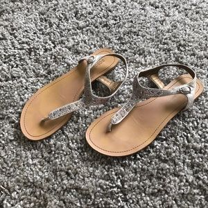BCBG Silver Jeweled Sandals